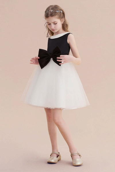 Affordable Bow Tulle A-line Flower Girl Dress_6