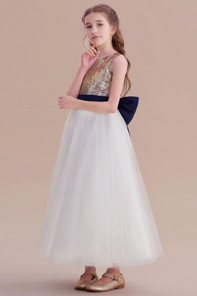 Bow Sequins Ankle Length A-line Flower Girl Dress_6
