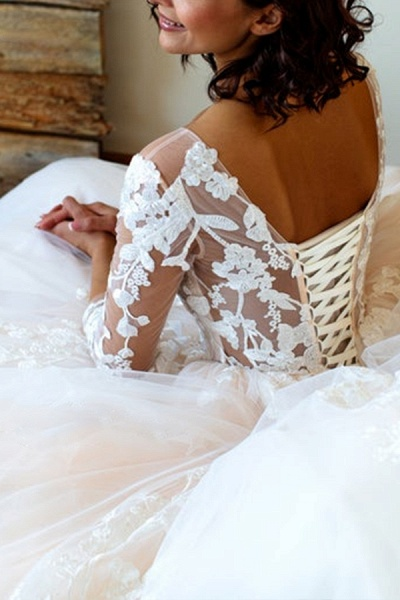 Lace-up Appliques Tulle Ball Gown Wedding Dress_8