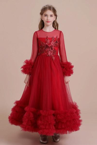 Long Sleeve Applique Tulle A-line Flower Girl Dress_1