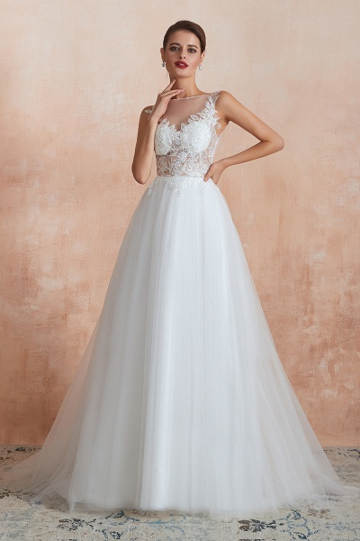 Graceful Sequins Tulle A-line Wedding Dress_7