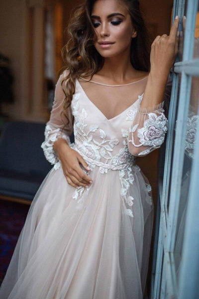 Appliques Tulle Long Sleeve A-line Wedding Dress_5