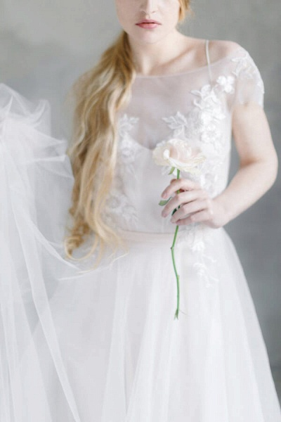 Short Sleeve Appliques Tulle A-line Wedding Dress_5