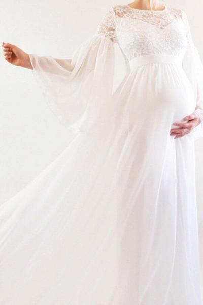 Best Long Sleeve Lace Chiffon Wedding Dress_4