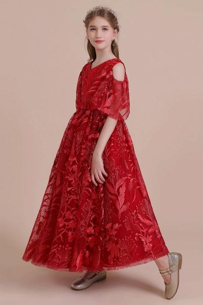 V-neck Tulle A-line Cold-shoulder Flower Girl Dress_4