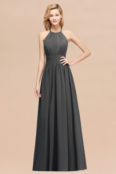 A-line Chiffon Appliques Halter Sleeveless Floor-Length Bridesmaid Dresses with Ruffles_46