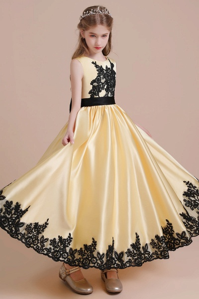 Chic Bow Appliques Satin A-line Flower Girl Dress_6