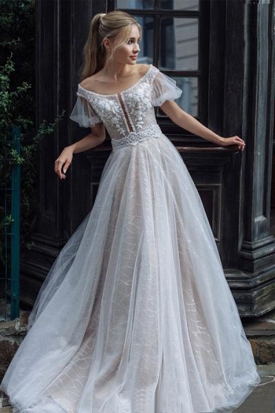 Short Sleeve Chapel Train Tulle Wedding Dress_1