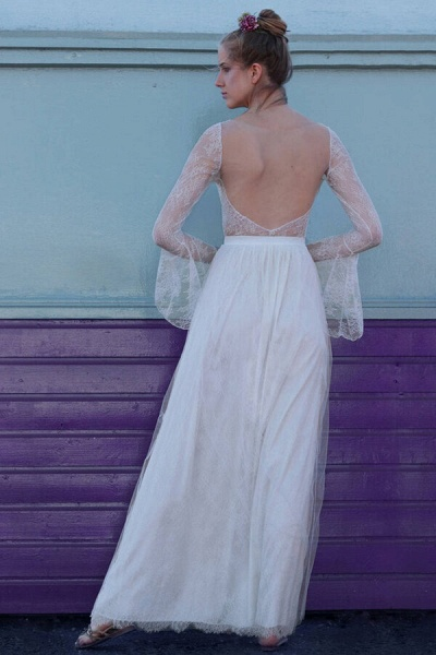 Open Back Long Sleeve Lace A-line Wedding Dress_4