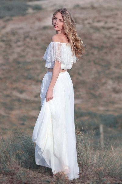 Off Shoulder Lace Chiffon Two Piece Wedding Dress_6