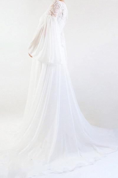 Best Long Sleeve Lace Chiffon Wedding Dress_3