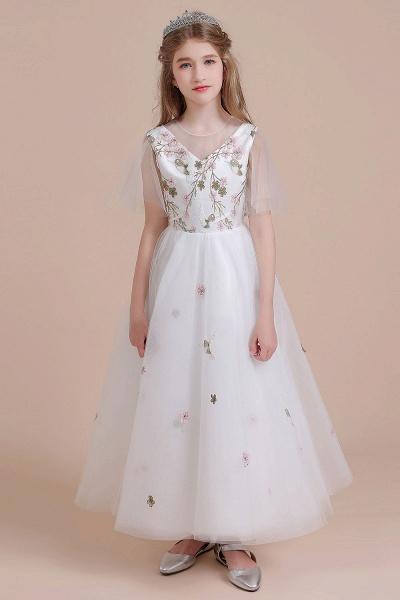 Short Sleeve Embroidered Tulle Flower Girl Dress_4