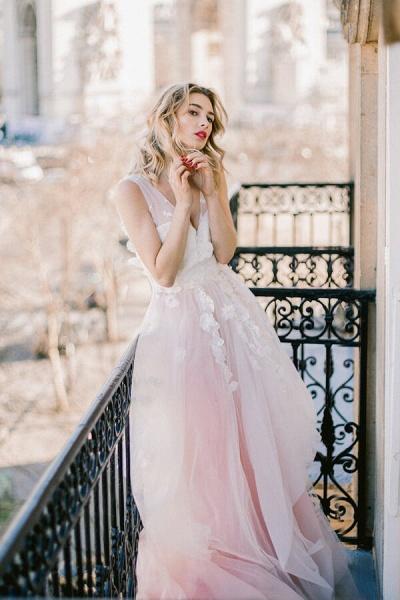 Affordable V-neck Appliques Wedding Dress_2