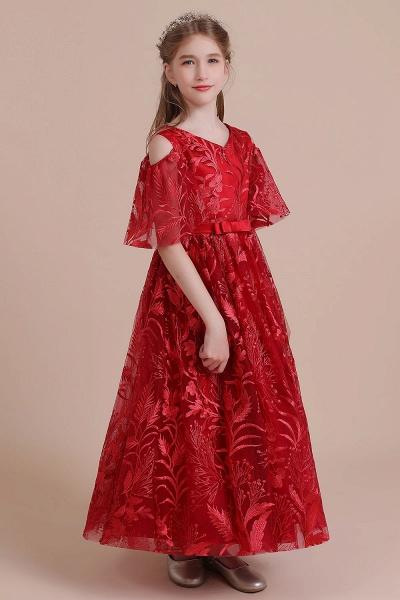 V-neck Tulle A-line Cold-shoulder Flower Girl Dress_6