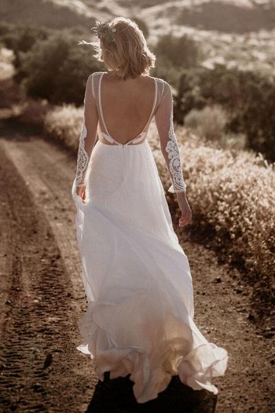 Open Back Long Sleeve Chiffon A-line Wedding Dress_3