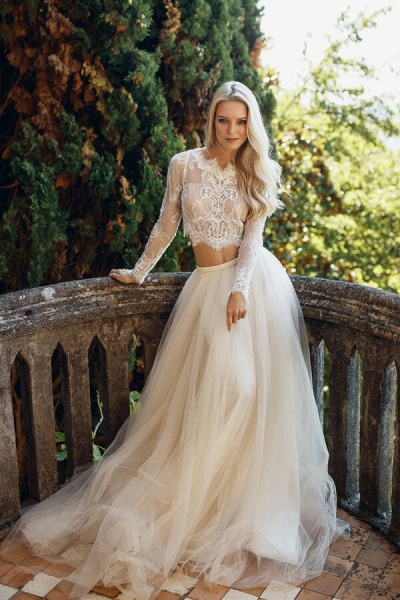 Long Sleeve Lace Tulle Two Piece Wedding Dress_1