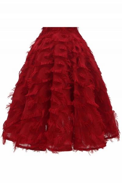 Elegant High neck Artifical Feather A-line Vintage Cocktail Dresses | Retro A-line Burgundy Homecoming Dress_14