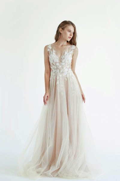 Latest V-neck Tulle A-line Wedding Dress_1
