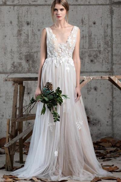 Affordable V-neck Appliques A-line Wedding Dress_1