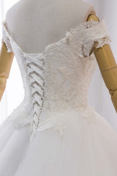 Amazing V-neck Lace Tulle Ball Gown Wedding Dress_7