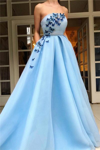 Sleek Strapless Tulle A-line Prom Dress_1