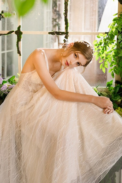 Best Cathedral Train Tulle A-line Wedding Dress_6