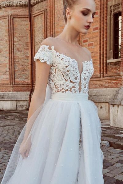 Off-the-shoulder Chapel Length A-line Wedding Dress_4