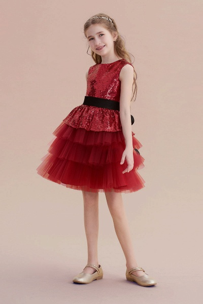 Tulle Sequins A-line Knee Length Flower Girl Dress_5