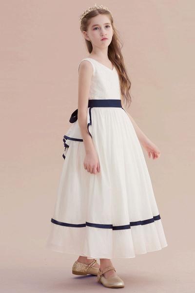 Chic V-neck Lace Ankle Length Flower Girl Dress_5