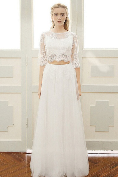 Graceful Sheer Lace Tulle Two Piece Wedding Dress_4