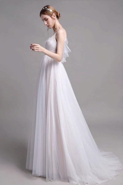 Graceful Spaghetti Strap Lace Tulle Wedding Dress_5
