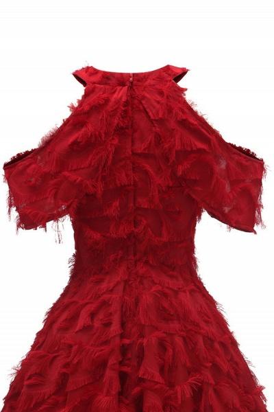 Elegant High neck Artifical Feather A-line Vintage Cocktail Dresses | Retro A-line Burgundy Homecoming Dress_15