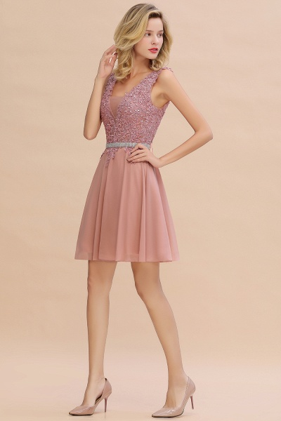 Cute Deep V-neck Short Homecoming Dress with Beaded Belt_12