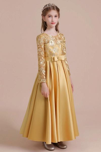 Long Sleeve Satin Ankle Length Flower Girl Dress_7