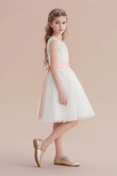 Illusion Appliques Tulle A-line Flower Girl Dress_4