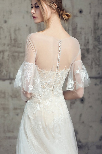 Illusion Long Sleeve Appliques Tulle Wedding Dress_7