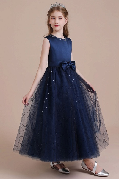 Chic Bow Tulle A-line Flower Girl Dress_4