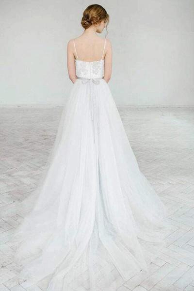 Best Spaghetti Strap Appliques Tulle Wedding Dress_3