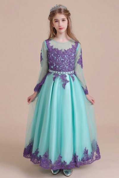 Chic Long Sleeve Appliques A-line Flower Girl Dress_2