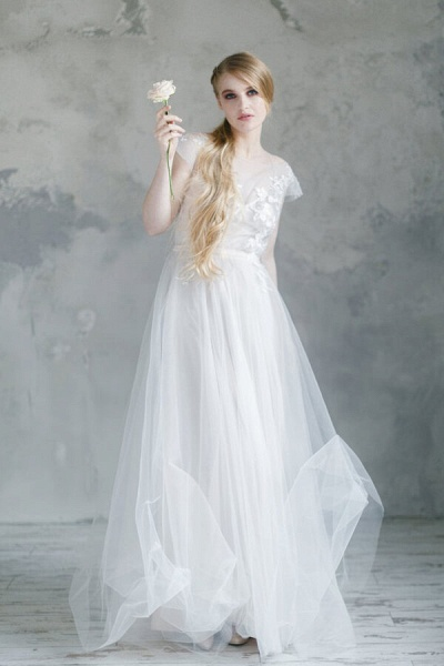 Short Sleeve Appliques Tulle A-line Wedding Dress_3