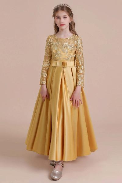 Long Sleeve Satin Ankle Length Flower Girl Dress_10