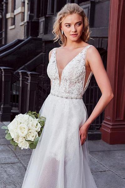 V-neck Lace Chapel Train Organza Wedding Dress_5
