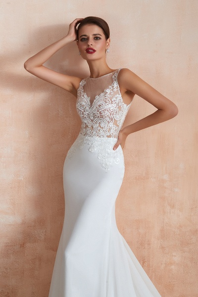 Chic Applique Satin Tulle Mermaid Wedding Dress_9