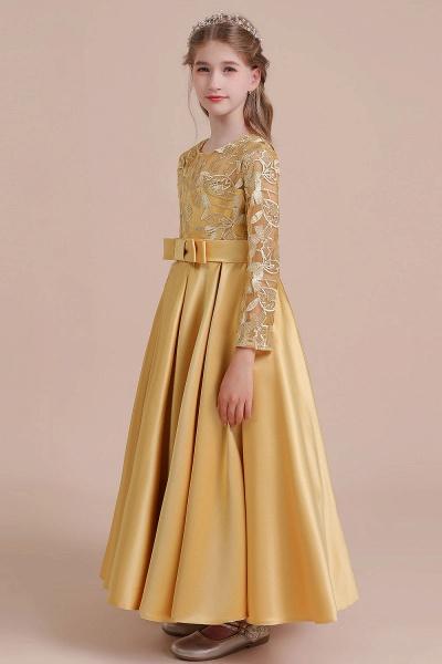 Long Sleeve Satin Ankle Length Flower Girl Dress_6