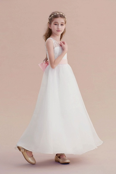 Illusion Lace Tulle A-line Flower Girl Dress_5