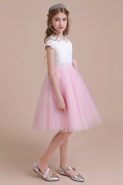 Cap Sleeve Tulle Knee Length Flower Girl Dress_5