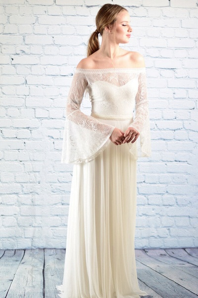 Off-the-shoulder Lace Chiffon A-line Wedding Dress_7