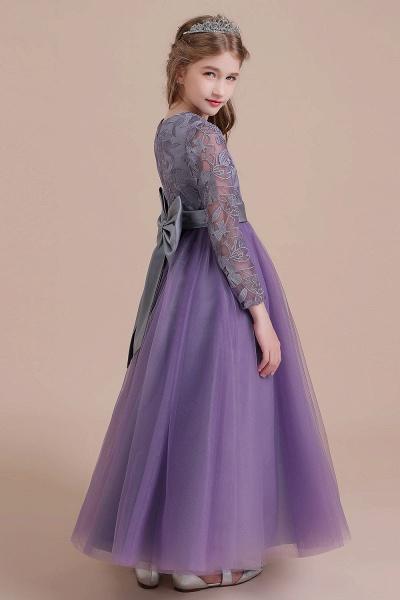 Long Sleeve A-line Ankle Length Flower Girl Dress_9