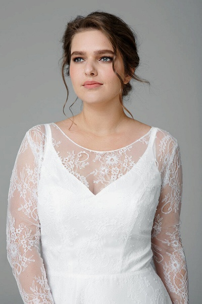 Plus Size Long Sleeve Lace A-line Wedding Dress_5
