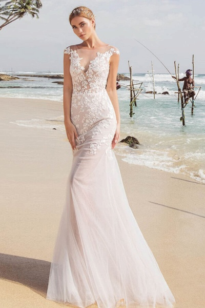 Graceful Cap Sleeve Appliques Mermaid Wedding Dress_1